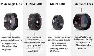 Image 4 - طقم عدسات هاتف بنمط كاميرا DSLR 4 في 1 من Kase II بزاوية واسعة/ماكرو/عين السمكة/عدسة تليفوتوغرافي للهواتف الذكية iPhone 8 سامسونج وهواوي