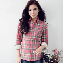 S-4XL New Women's Cotton Shirt Winter 2018 Casual All-match Plaid Shirt Long-sleeve Plus Velvet Thicken Warm Slim Tops Female