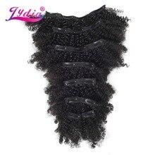 Лидия 8 шт./компл. 18 заколки для волос шиньоны 6 дюймов естественно вьющиеся синтетические Жаростойкие накладные волосы для наращивания все Цвет