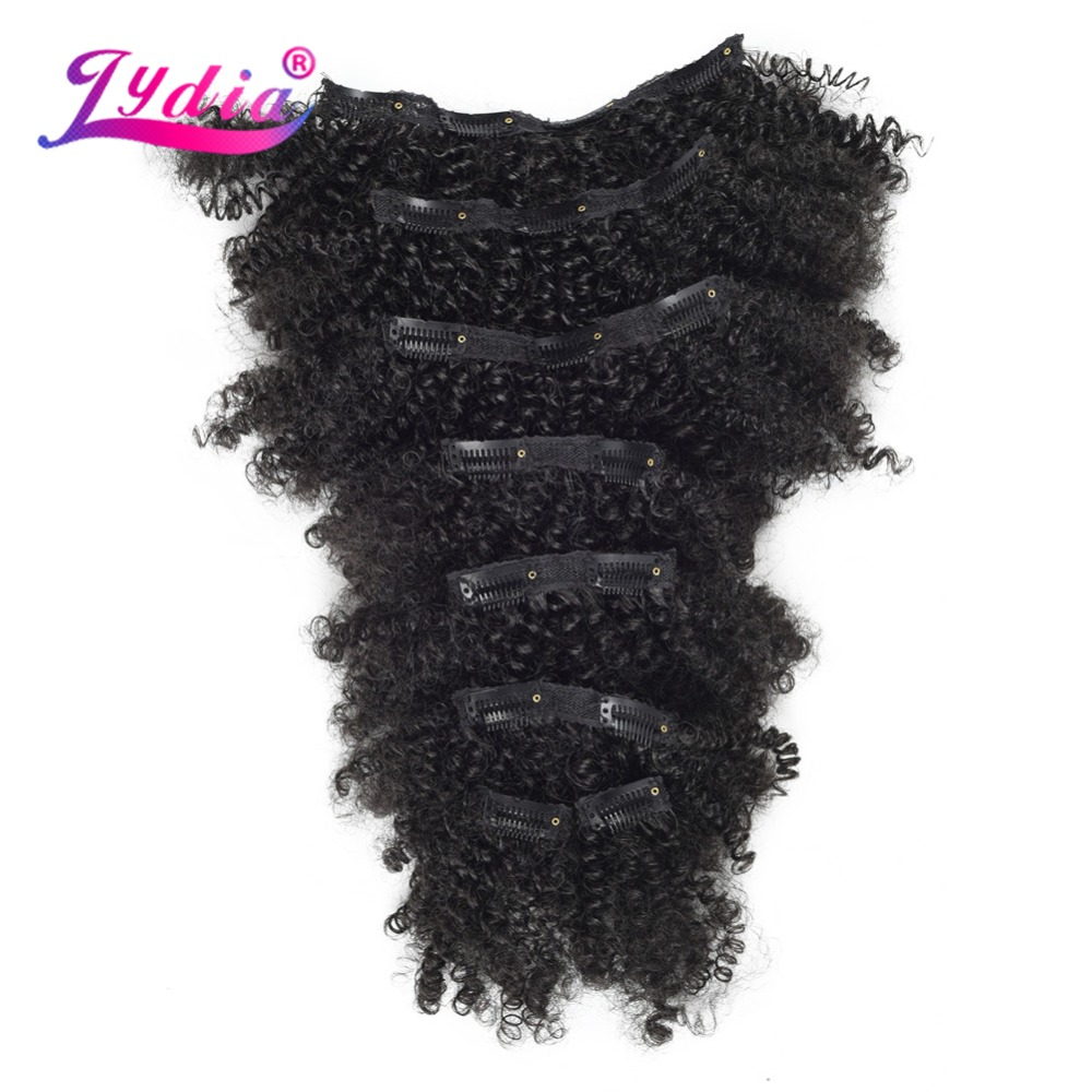 Lydia 8Pcs/set 18 Clips In Hair Hairpieces 6 Inch Natural Curly Synthetic Heat Resistant Hair Extensions All Color Available