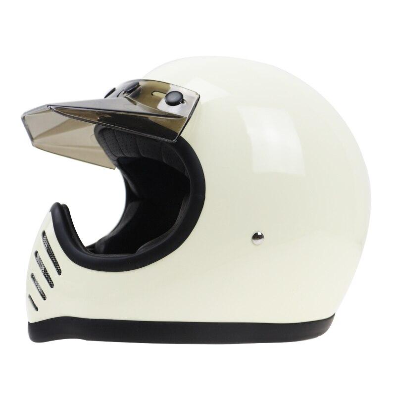 Sur mesure soutenu MOTO 3 style fabriqué à la main Vintage Casque en Fiber De verre rétro MOTO casque avec visière amovible