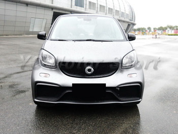 Car Accessories FRP Fiber Glass & Carbon Fiber AMG Style Front Bumper Fit For 2015-2017 Smart Fortwo C453 Body Kit Front Bumper