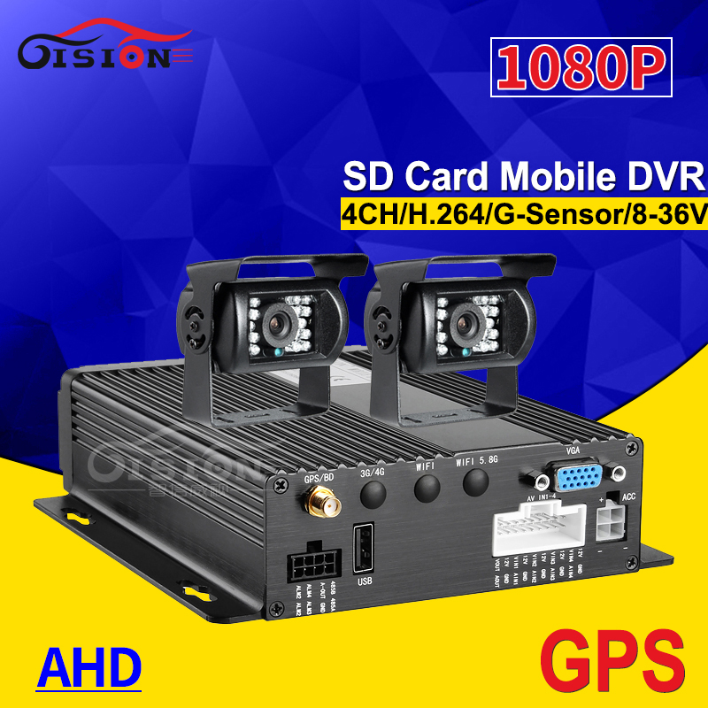 G-sensor GPS 4CH H.264 Vehicle Car Mobile Dvr For Bus Taxi Truck +2Pcs Rearview Back Metal Waterproof Backup Camera+32G SD Card