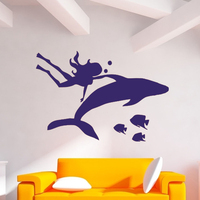 Hot Wall Decals Girl Diver Mermaid Dolphin Fish Vinyl Sticker Bathroom Art Decor Decal Mural Vinyl