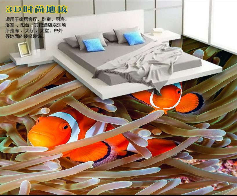 ФОТО 3d floor tiles custom 3d wallpaper living room Coral Clownfish 3d floor murals pvc self adhesive wallpaper