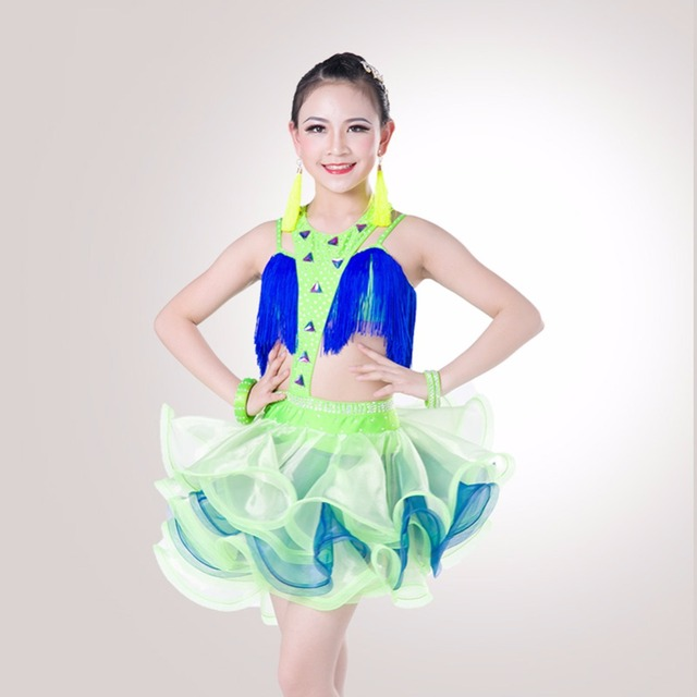 69054308d212 2019 New Girl Latin Dance Dress Original Design Diamond Material For Girl Stage  Dancing Skirt India