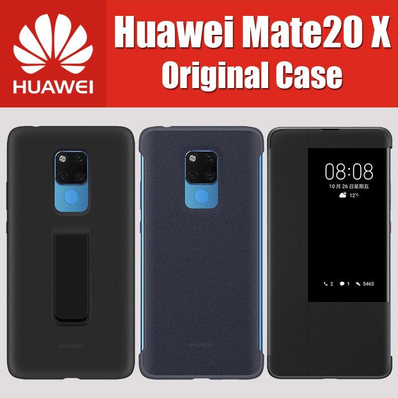 HUAWEI MATE20 X 100% Original soporte cubierta MATE 20 X caso ventana Flip Funda de cuero