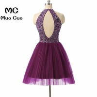 Vintage 2018 Beaded Homecoming Dresses with Crystals Zipper A Line Off Shoulder Evening Dress Graduation Cocktail Party Dress