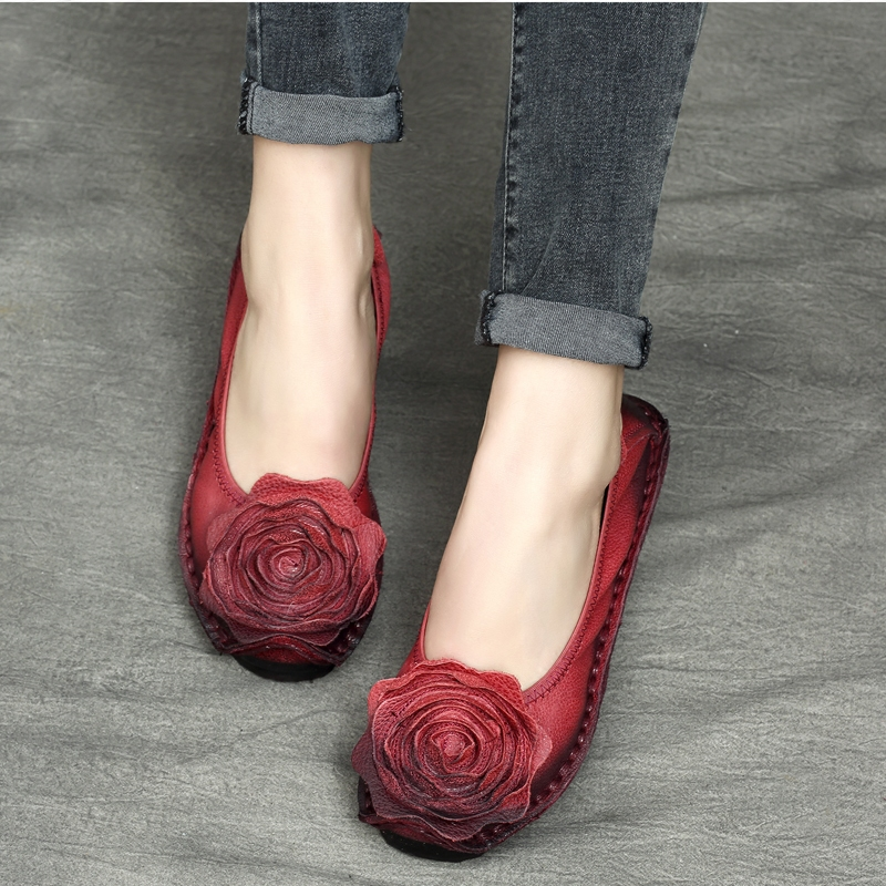Genuine Leather Women Flats Soft Bottom Red Flower Autumn Women Set Foot Lazy Shoes 2018 Handmade Leather Loafers For Women Flat