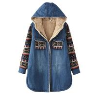 MISSKY Women Denim Jacket Winter Retro Long Sleeve Parkas Denim Coat Thicken Fleeced Outwear