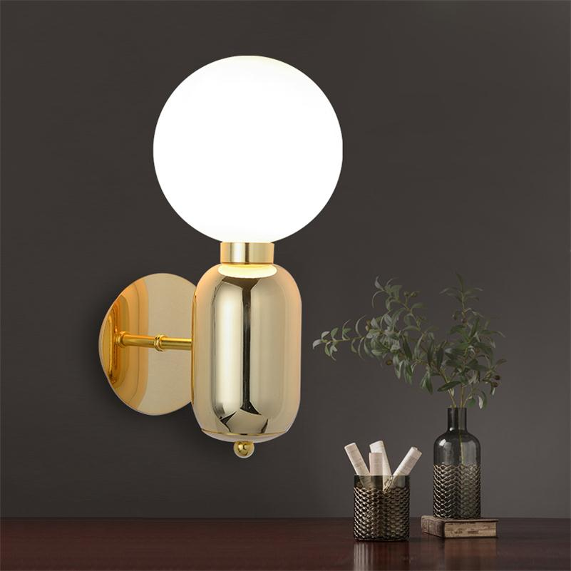 Modern Minimalist Glass Wall lamp Black/White/Golden Indoor Living Room Bedroom Bedside Wall Lights Porch Sconce Lampe Luminaria