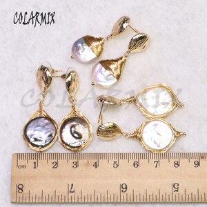 Image 5 - 5 пар серьги из пресноводного жемчуга Серьги из жемчуга оптовая продажа ювелирных изделий Модные ювелирные изделия для женщин подарок 9204