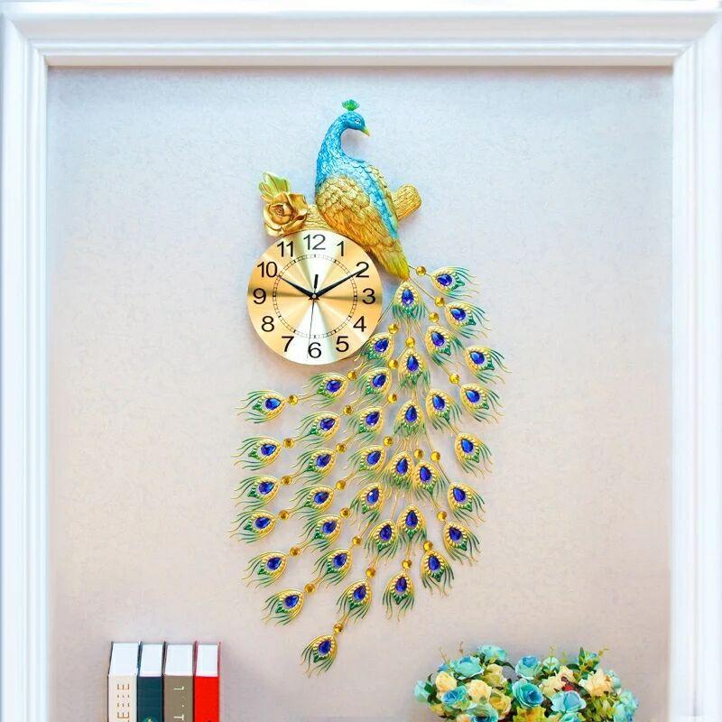 Creative Personality Living Room Wall Clock European Modern Home Large Peacock Clock Mute Fashion Decorative Quartz Clock Heat