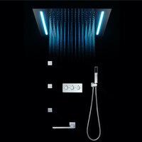 16 Colors Shower Panel Rainfall Shower Screen Remote Control LED Light Massage SPA Jet Three Handles Mixer Tap Sink Faucet Set