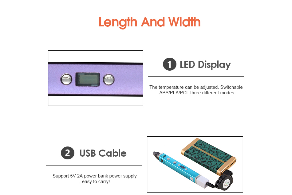 Myriwell Smart 3D Printing Pen With LED Screen And USB Cable For Kids