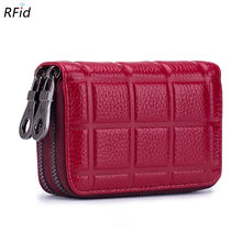 Plaid Designer Brand Women ID Card Holder Genuine Leather Double Zipper Lady Credit Card Case Wallet Large Capacity Card Holder(China)