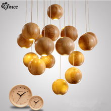 16 Heads Multi-Ball Solid Wood Chandelier Modern Chinese Japanese Nordic Creative Art Deco Living Room Dining Wooden PendantLamp(China)