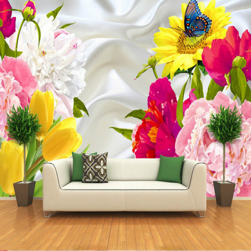 Fashion large showy flowers 3D wallpaper mural painting living room bedroom 3D wallpaper TV backdrop stereoscopic 3D wallpaper red square building curtain roman 3d large mural wallpaper bedroom living room tv backdrop painting three dimensional wallpaper