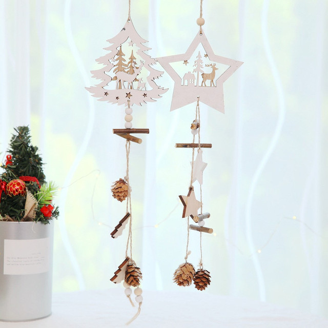 wooden christmas ornaments wood star pendants pine cone christmas tree drop ornaments xmas decor christmas decoration - Wooden Christmas Ornaments
