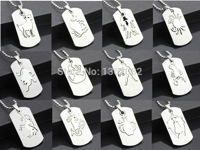 Jewelry Whole 12 Pcs Zodiac Dog Tag 2 In 1 Stainless Steel Constellation Pendant Necklace Lucky Gift Yn53 Pendants From Accessories On