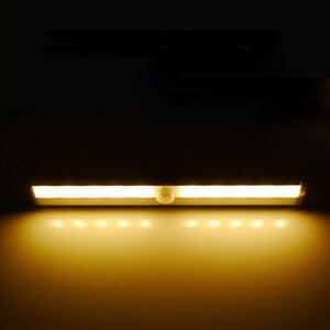10 светодиодный Ночной светильник с питанием от батареек инфракрасный беспроводной датчик движения лампа домашний гардероб светильник s для спальни шкаф настольная прикроватная тумбочка