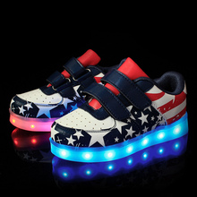 2017 new children's shoes for boys and girls sports shoes fashion usb rechargeable LED light casual shoes size 25-37