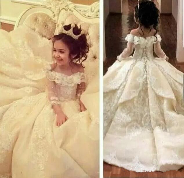 Sweet Off-shoulder Neck Flower Girl Dresses Special Occasion For Weddings Floor Length Kids Pageant Gowns Communion Dress sweet off the shoulder flounce dress