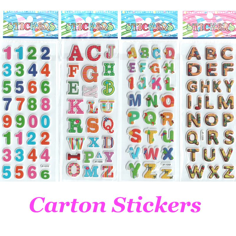 4pcslot cartoon stickers letters and numbers for baby boys and girls decorative foam stickers