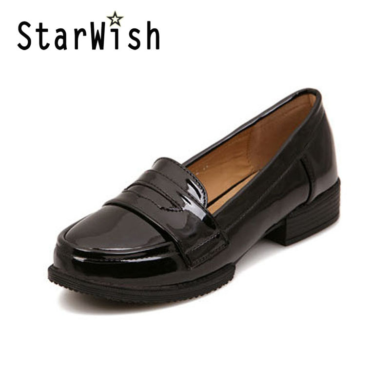 Ladies Casual Flat Loafers Shoes Fashion Patent Leather Round Toe Women Flats Size 34-43 Women's Flats New England Women Oxfords flat shoes women pu leather women s loafers 2016 spring summer new ladies shoes flats womens mocassin plus size jan6