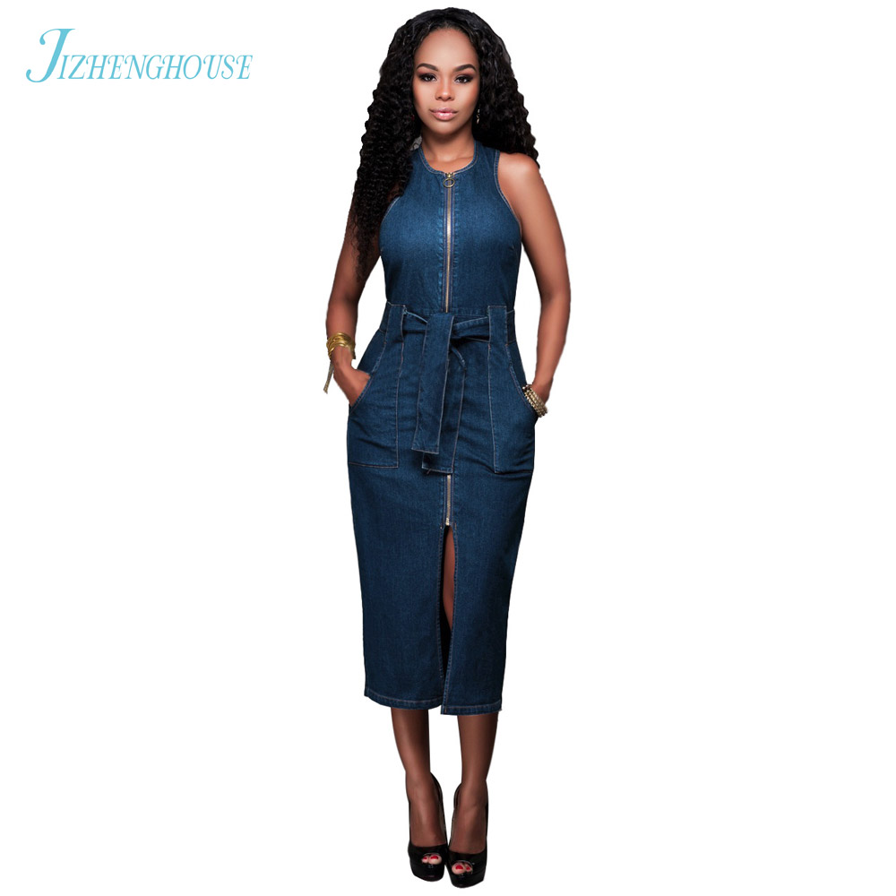 JIZHENGHOUSE 2017 Summer Denim Dress Women Sleeveless Slim Jeans Dresses Brand Vestidos Lady Casual Dress With Pocket Sashes