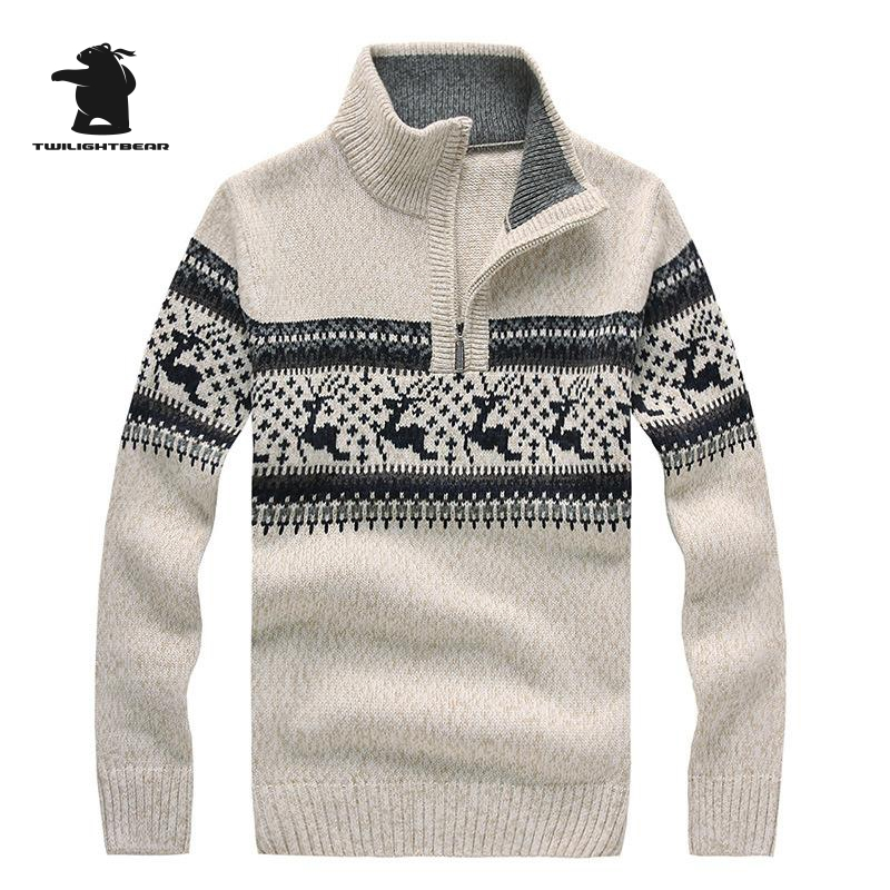 Brand New Mens Christmas Sweaters Stand Collar Fashion Deer Jacquard Zipper Wool Thicken Casual Sweater For Men Pullovers BF7731 ...