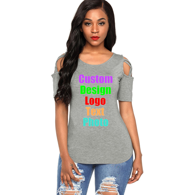 22269f99 Plus Size Female Women Summer T-shirt Off Shoulder Short Sleeve Cross  Bandage Custom DIY Logo Text Printed Photo Tee T shirt Top
