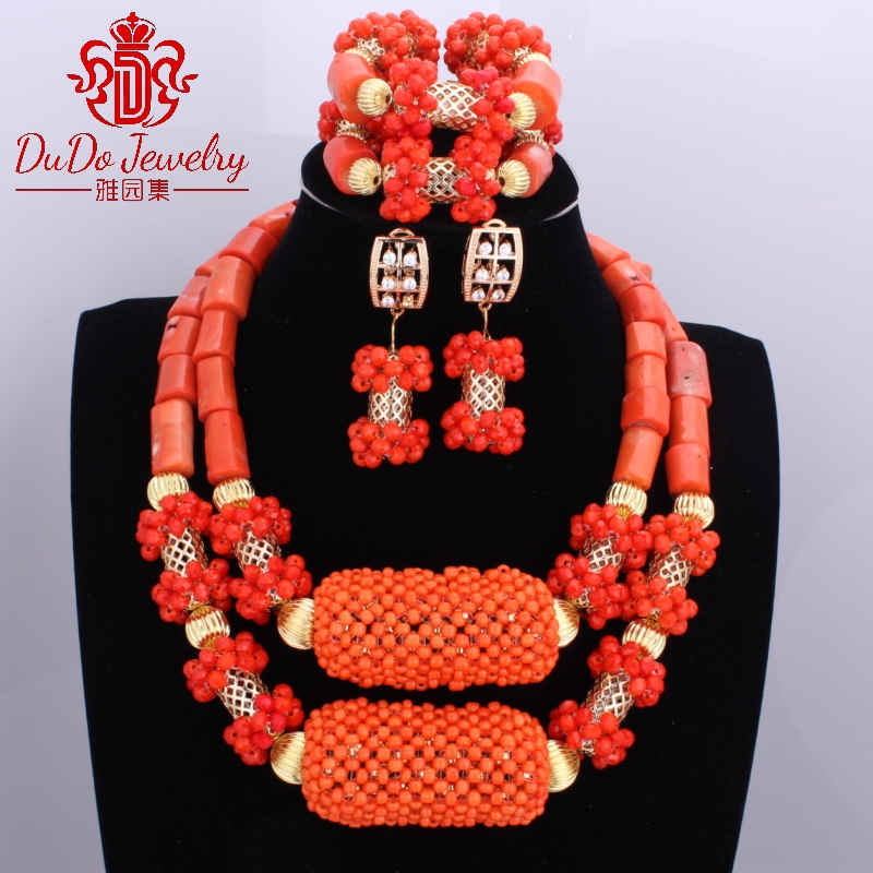 2017 Newest Coral Jewelry Sets Nigerian Dubai Orange Necklace Sets of Beads African Bridal Jewelry Sets Brand Free Shipping