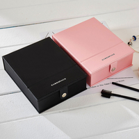 14*18*5.3cm Travelling Cosmetic Jewelry Box PU Leather Cosmetic mirror Storage Case for jewelry packaging jewelry box
