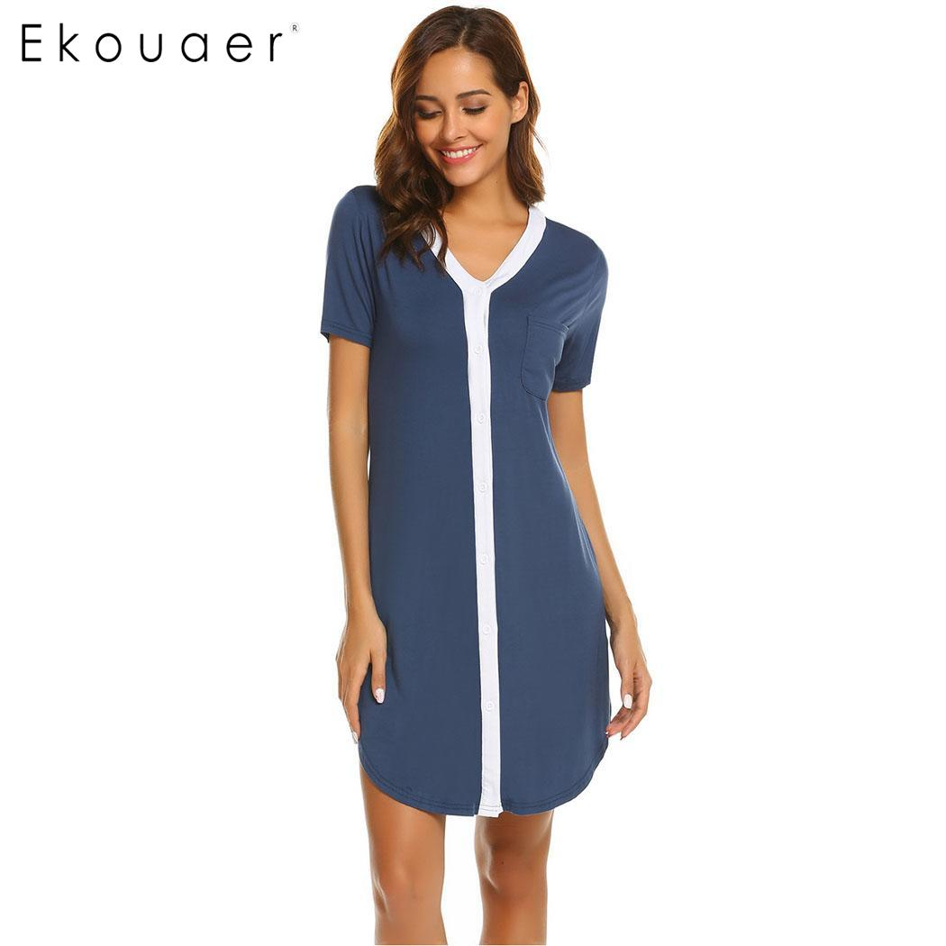 Ekouaer Casual Night Dress Women V-Neck Short Sleeve Nightgowns Button Front Contrast Color Chemise Nightdress Female Homewear