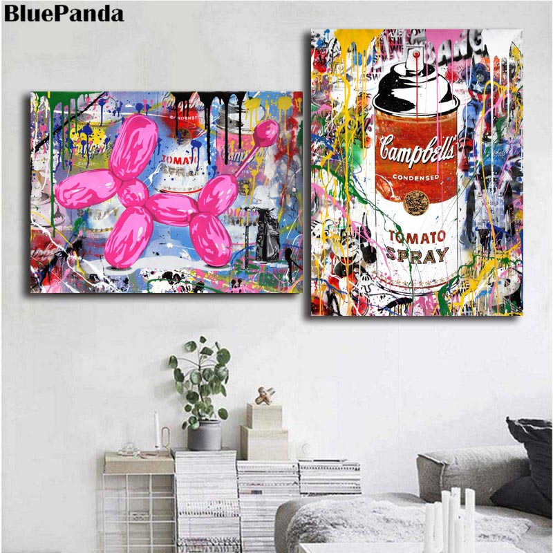 Mr. Brainwash TOMATO Spary And Poppy Poster Canvas Painting Wall Art Pictures For Living Room Home Decor