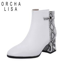 e96e24ac ORCHA LISA nuevas botas de tobillo de tacón grueso Sexy botas cortas con  estampado de serpiente mujer