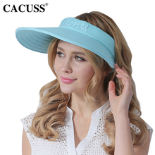 CACUSS 2017 New Sun Hats For Women Summer Large Cotton UV Protection Beach  Caps Foldable Floppy a27392a59d6c