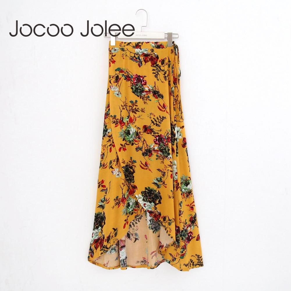 e67f15d5e Jocoo Jolee Floral Sprint mujeres imperio Falda larga para el verano 2018  nuevo estilo bohemio de ...