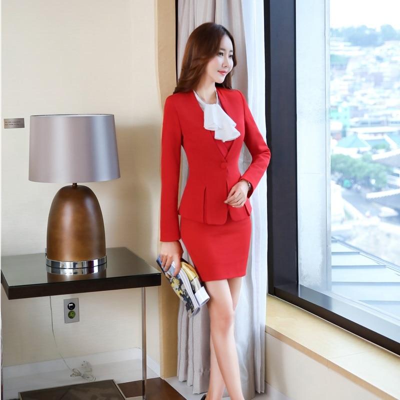 Formale Sportiva Affari Del Vestito Usura Vestiti Inverno Abiti Giacche Autunno Plus Donne Rosso Ol Di Stili 1 Gonna 3 2 Size Delle Lavoro Professionale Giacca Con wYqE6pE