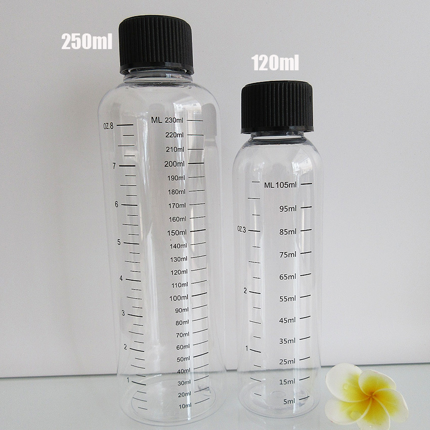 10pcs120ML 250ML Plastic Refillable Bottle PET transparent Liquid Bottle with Graduation, Scale Water Bottle with Childproof Cap цена