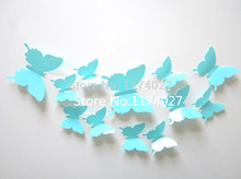 Free shipping 12pcs PVC 3d Butterfly Home decor solid blue color small europe cute Wall stickers  Decoration Butterflies Decals