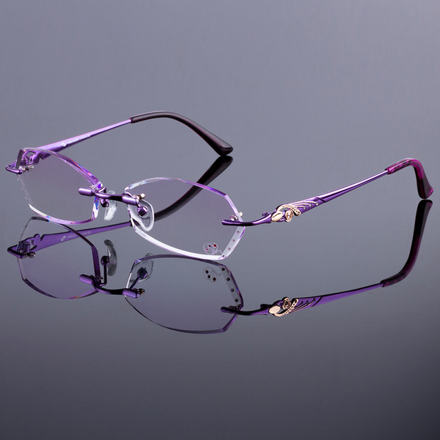 a0fb61ea65 New Design Women Rimless Frames Women Titanium Alloy Glasses Frame Diamond  Trimming Cut Rimless Glasses With