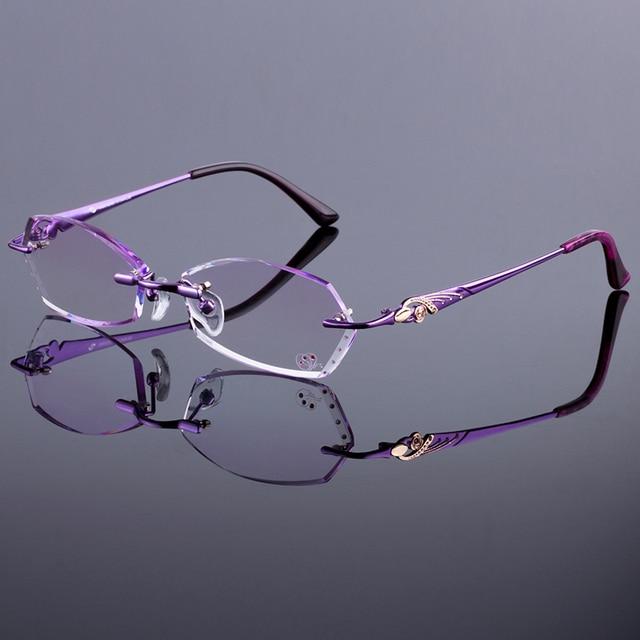 21faaaf7bfa0 New Design Women Rimless Frames Women Titanium Alloy Glasses Frame Diamond  Trimming Cut Rimless Glasses With