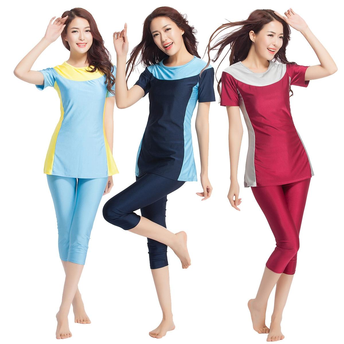 2018 Muslim swimsuit for women plus size swimwear ladies Islamic tankini short shirt+Capri pants beach swimming wear suit