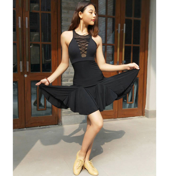 Women Lady Latin Dance Dress Backless Training Set with a deep V tie for Adult Women Practice Dress Latin Dance Dress Set L135