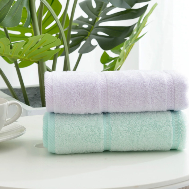 Green 100% Bamboo Fiber Face Towel for Adult 34x78cm Solid Color Woven Soft Absorbent Home Bath Room Towels