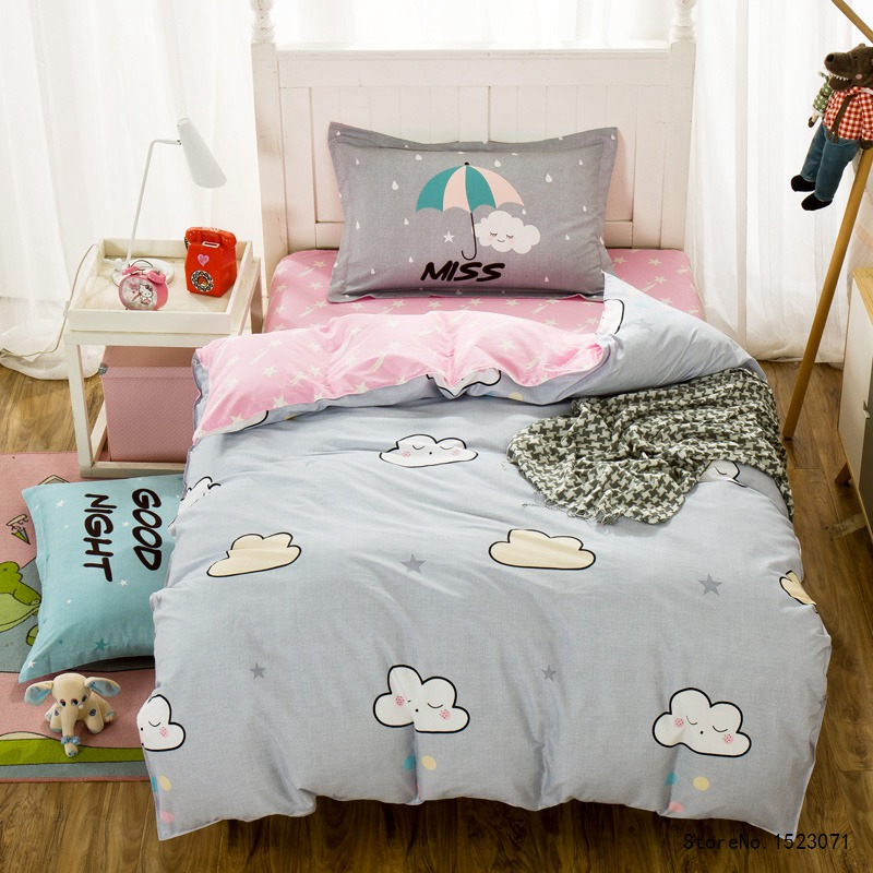 TUTUBIRD 3pcs Kids Cartoon Good Night Cloud Bedding Set Duvet Cover Twin  Size Bed Sheet Bedspread Bed Linen Housse De Couette