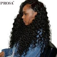 Глубокая волна 360 Синтетические волосы на кружеве al парик предварительно сорвал с для волос 150% плотность бразильский Синтетические волосы