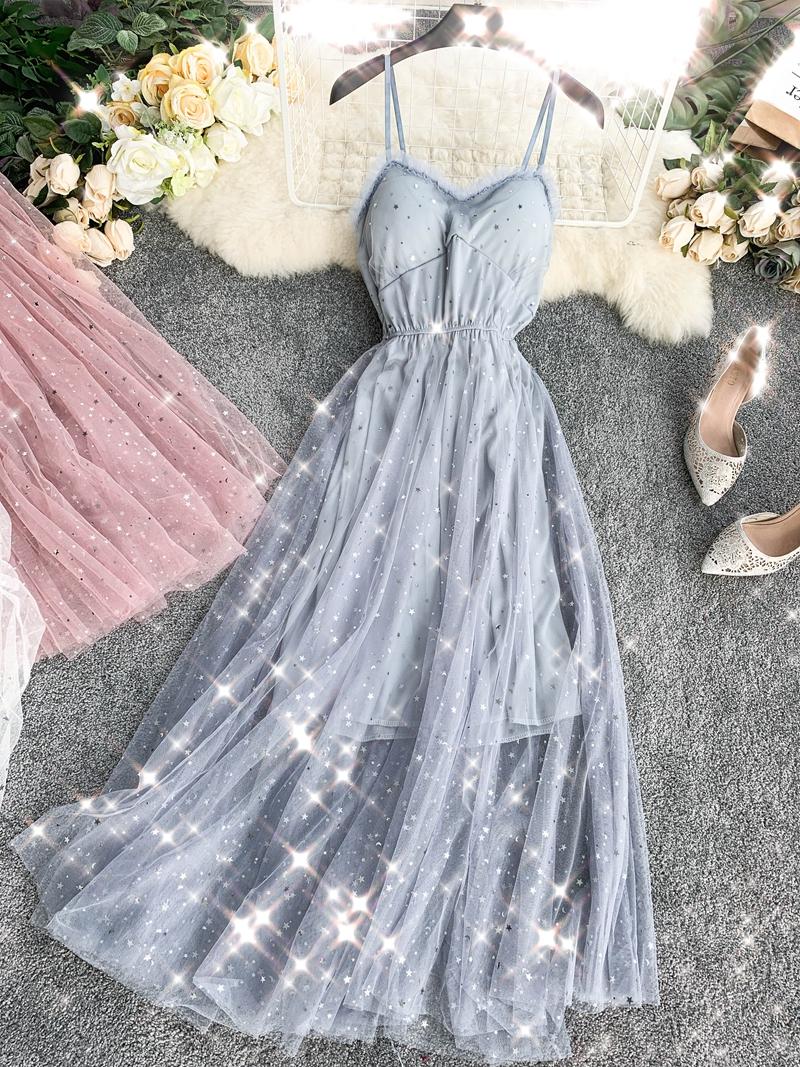 Sequins V-Neck Gauze Ruffles Mesh A-Line Dress 13